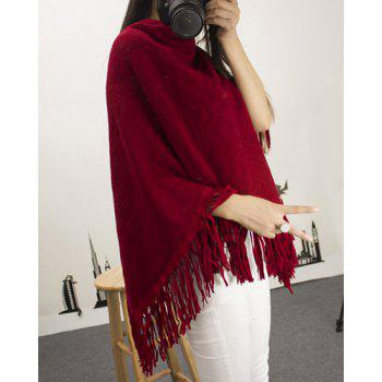 Chic 3/4 Sleeve Asymmetrical Pure Color Women's Knitwear - WINE RED WINE RED