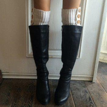 Pair of Chic Big Buttons and Stripy Embellished Women's Knitted Leg Warmers