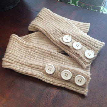 Pair of Chic Big Buttons and Stripy Embellished Women's Knitted Leg Warmers -  RANDOM COLOR