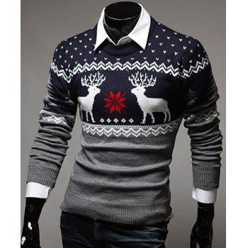 Color Spliced Christmas Snowflake Deer Jacquard Round Neck Long Sleeves Men's Thicken Sweater