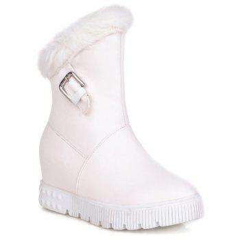 Elegant Slip-On and PU Leather Design Snow Boots For Women