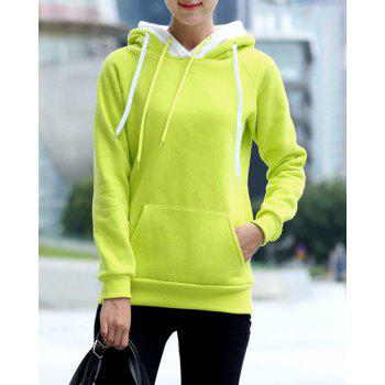 Preppy Style Long Sleeve Hooded Front Pocket Design Women's Pullover Hoodie