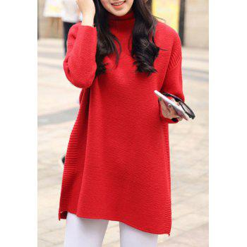 Graceful Turtleneck Solid Color Slit Long Pullover Sweater For Women - RED ONE SIZE(FIT SIZE XS TO M)