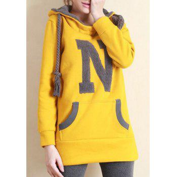 Trendy Long Sleeve Hooded Letter N Pattern Women's Pullover Hoodie