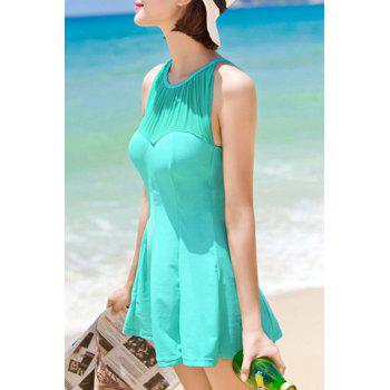 Sexy Women's Jewel Neck Cut Out Ruffled One-Piece Swimsuit - LIGHT GREEN XL