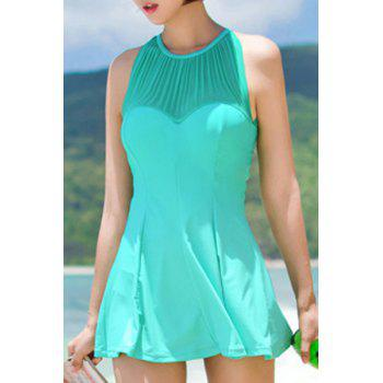 Sexy Women's Jewel Neck Cut Out Ruffled One-Piece Swimsuit