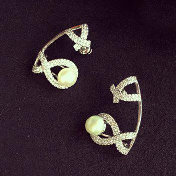 Pair of Vintage Faux Pearl Bow Earrings For Women - SILVER