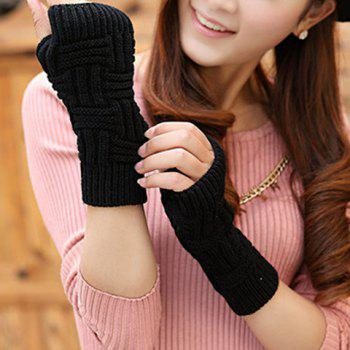 Buy Pair Chic Short Stripe Shape Knitted Fingerless Gloves Women BLACK