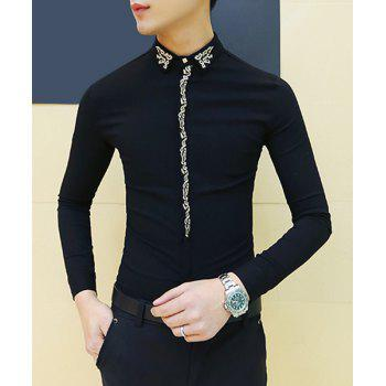 Turn-Down Collar Embroidery Design Long Sleeve Slimming Men's Shirt