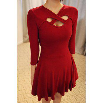 Chic V-Neck 3/4 Sleeve Hollow Out Solid Color Dress For Women - M M