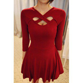 Chic V-Neck 3/4 Sleeve Hollow Out Solid Color Dress For Women