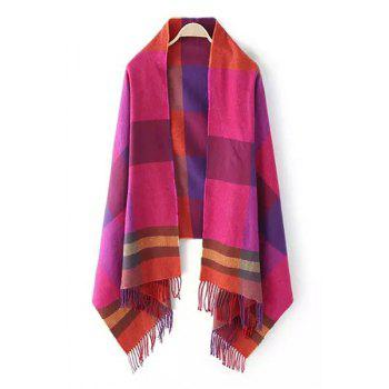 Chic Colored Plaid Tassel Pashmina For Women
