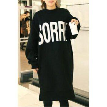 Women's Long Sleeve Round Neck Loose Sweater Dress - BLACK ONE SIZE(FIT SIZE XS TO M)