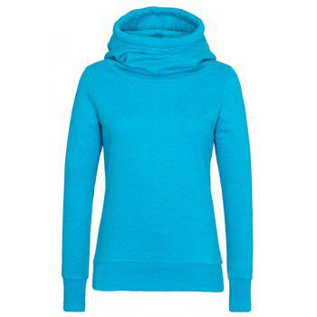 Simple Hooded Long Sleeve Slimming Solid Color Women's Hoodie