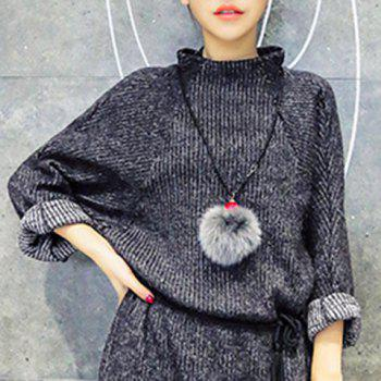 Stylish Faux Fur Ball Shape Sweater Chain For Women - GRAY