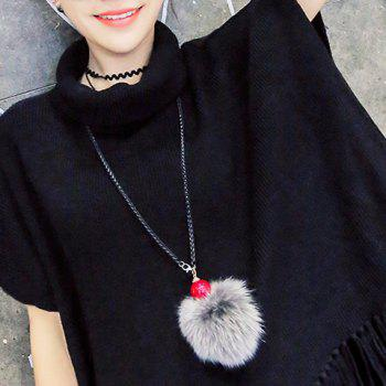 Stylish Faux Fur Ball Shape Sweater Chain For Women - GRAY GRAY