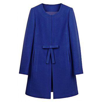 Trendy Women's Jewel Neck Long Sleeve Bowknot Embellished A-Line Coat