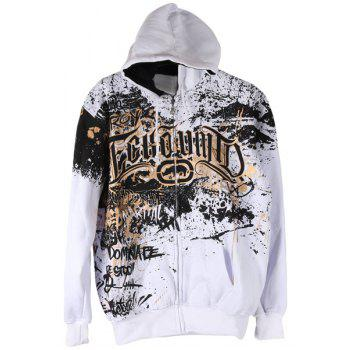 Hit Color Special Letters Print Front Pocket Drawstring Hooded Long Sleeves Men's Flocky Hoodie