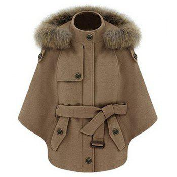 Chic Solid Color Convertible Faux Fur Hooded Thick Belted Wool Cloak Cape For Women