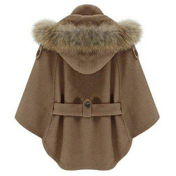 Chic Solid Color Convertible Faux Fur Hooded Thick Belted Wool Cloak Cape For Women - CAMEL M