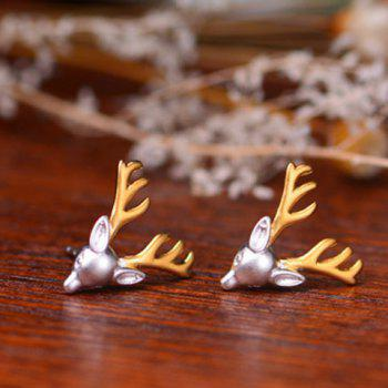 Pair of Metal Reindeer Head Shape Earrings