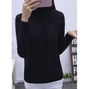 Long Sleeve Turtleneck Solid Color Pullover Sweater For Women