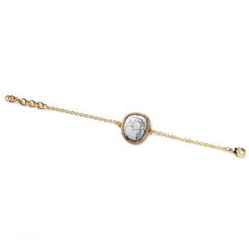 Rhinestoned Faux Gemstone Geometric Bracelet - WHITE