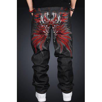 Back Totem Embroidered Patch Pocket Hit Color Straight Leg Zipper Fly Men's Loose Fit Jeans - 36 36