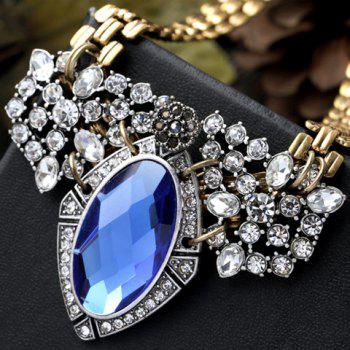 Trendy Rhinestoned Faux Crystal Geometric Necklace For Women - BLUE