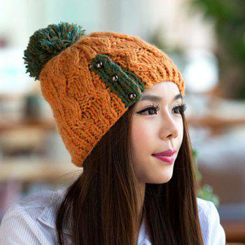 Chic Woolen Yarn Ball and Bead Embellished Women's Knitted Beanie - ORANGE ORANGE