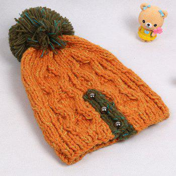 Chic Woolen Yarn Ball and Bead Embellished Women's Knitted Beanie - ORANGE