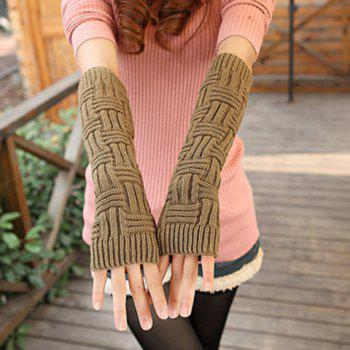Pair of Chic Short Stripe Shape Women's Long Knitted Fingerless Gloves