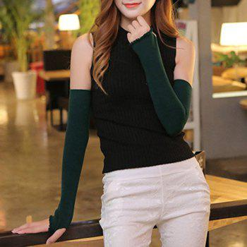 Buy Pair Chic Wavy Edge Solid Color Overlong Knitted Fingerless Gloves Women BLACKISH GREEN