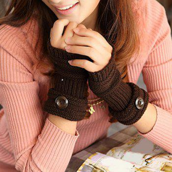 Pair of Chic Button and Stripy Embellished Knitted Fingerless Gloves For Women