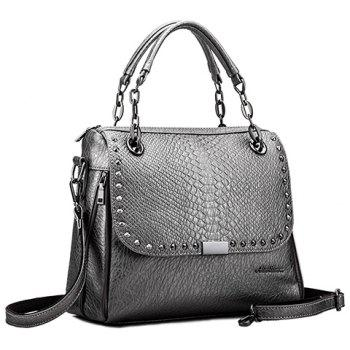 Retro Rivet and Embossing Design Tote Bag For Women