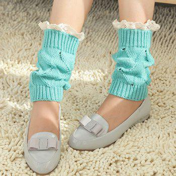 Pair of Chic Lace Brim Hollow Out Knitted Boot Cuffs For Women - BLUE BLUE