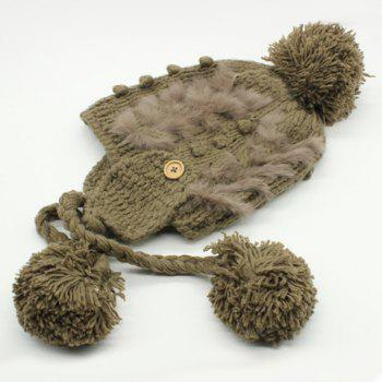 Chic Small Ball Pendant Button Faux Fur Embellished Women's Knitted Beanie - LIGHT COFFEE