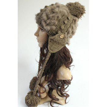 Chic Small Ball Pendant Button Faux Fur Embellished Women's Knitted Beanie