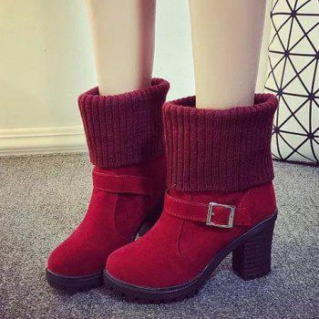 Laconic Buckle and Chunky Heel Design Short Boots For Women - RED 37