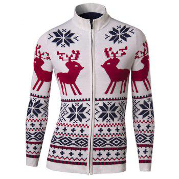 Slimming Stand Collar Christmas Deer Snowflake Jacquard Men's Long Sleeves Cardigan