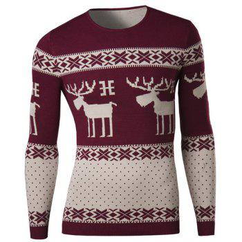 Vogue Round Neck Christmas Deer Snowflake Jacquard Hit Color Men's Long Sleeves Sweater