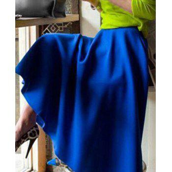 Vintage Solid Color High Waist Pleated Maxi Skirt For Women - BLUE BLUE