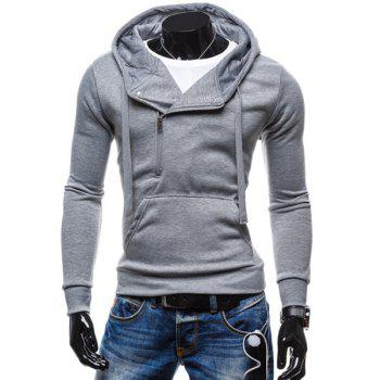 Inclined Half-Zip Front Pocket Solid Color Drawstring Hooded Long Sleeves Men's Hoodie