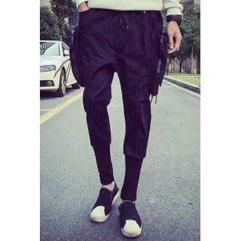 Lace-Up Side Zipper Pockets Design Rib Splicing Beam Feet Men's Nine Minutes of Pants