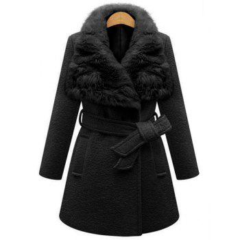 Stylish Faux Fur Collar Long Sleeve Self Tie Belt Coat For Women