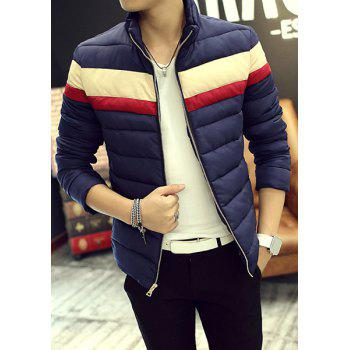Stand Collar Color Block Stripes Splicing Long Sleeve Men's Cotton Blends Coat