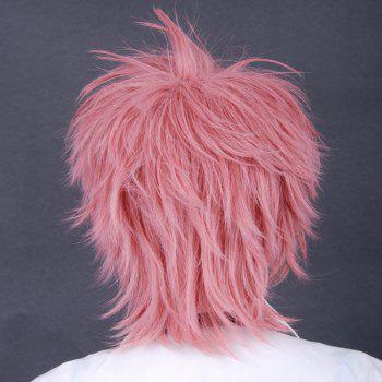 Handsome Towheaded Short Heat Resistant Fiber Inclined Side Anti Alice Hair Cosplay Wig - SHALLOW PINK