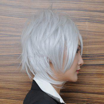 Handsome Silvery White Heat Resistant Fiber Oblique BangAnti Alice Hair Short Hair Side Bang Cosplay Anime Wig - SILVER WHITE