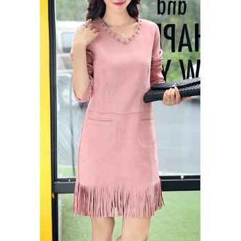 Chic V Neck Long Sleeve Fringed Studded Women's Dress
