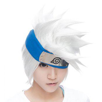 Fluffy Tilt Straight Vogue Silvery White Synthetic Handsome Short Hatake Kakashi Cosplay Wig (Without Headwear)